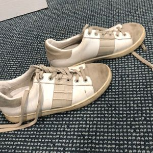 Sam Edelman suede and snake print sneakers